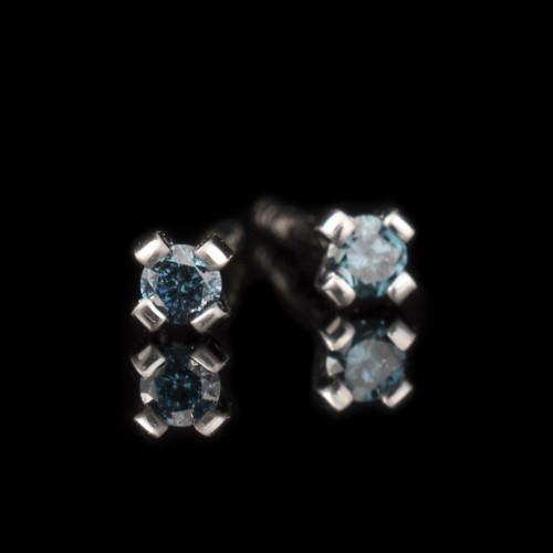 Обеци 14К бяло злато, 2 сини диаманта с тегло 0,08ct.