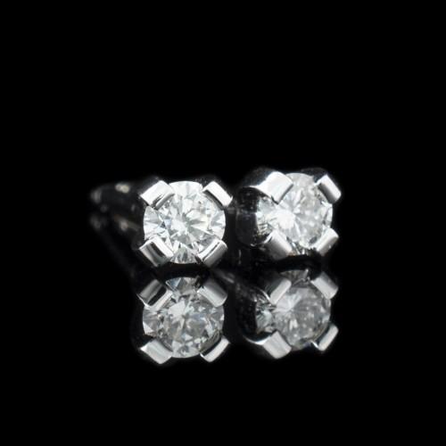 Обеци, 14K бяло злато, 2 диаманта с тегло 0,12ct