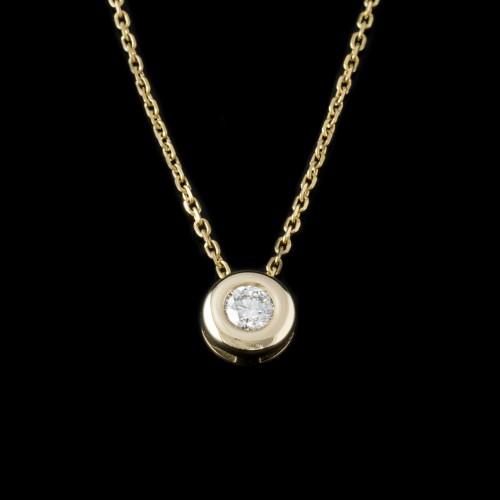 Колие, 14K злато, централен диамант с тегло 0.18ct