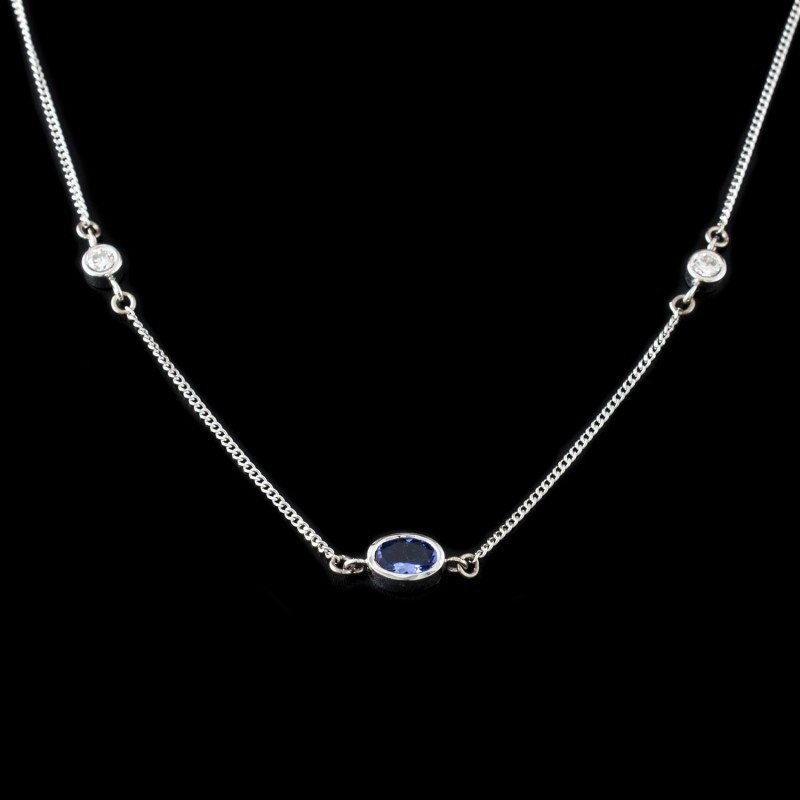 Necklace, 18K gold, 2 diamonds with a weight of 0.20ct. and tanzanite 0.30ct
