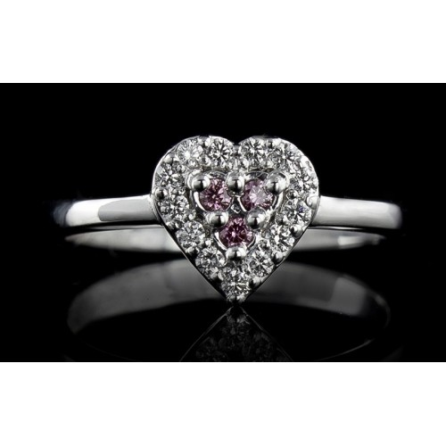 Ring of 18К gold, 3 pink diamonds with a weight of 0.03ct, 13 diamonds with a weight of 0.12ct
