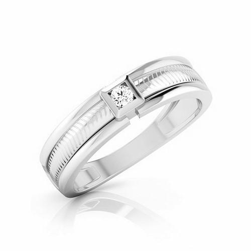 Мъжки пръстен 14К злато с 1 диамант 0.10 ct