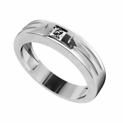 Мъжки пръстен 14К злато с 1 диамант Princess 0.11 ct