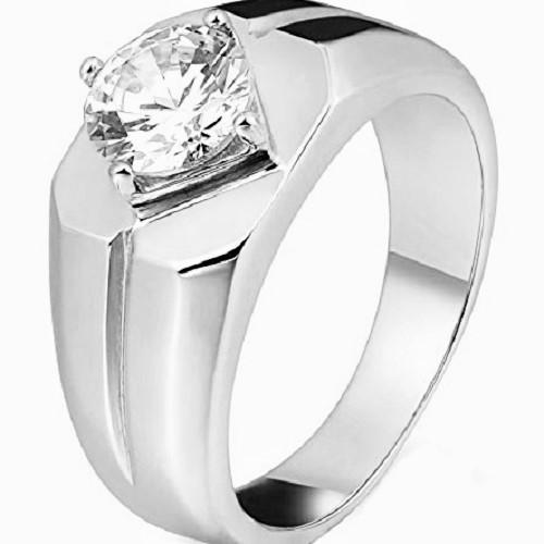 Мъжки пръстен 14К злато с 1 диамант 0.25 ct