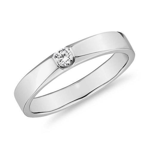 Мъжки пръстен 14К злато с 1 диамант 0.062 ct