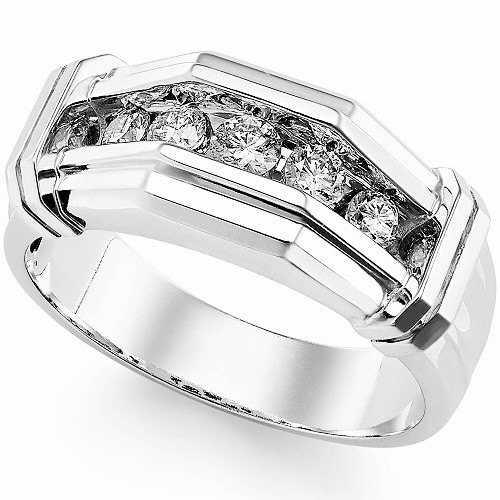 Ring for him, made from 14K gold and 5 diamonds 0.18 ct