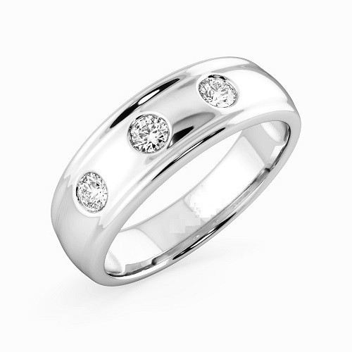 Мъжки пръстен 14К злато с 3 диаманта 0.19 ct