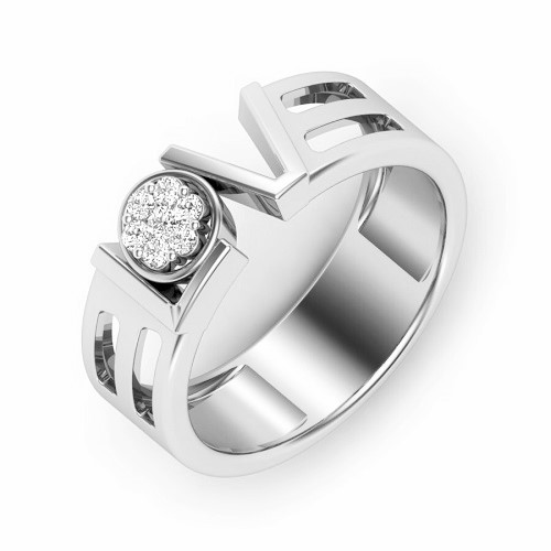 Ring for him, made from 14K gold and 7 diamonds 0.053 ct