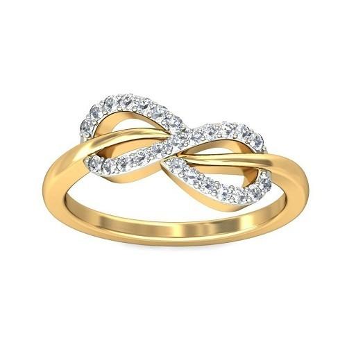 """Пръстен """"Безкрайност"""", 14К злато с 25 диаманта 0.15 ct"""