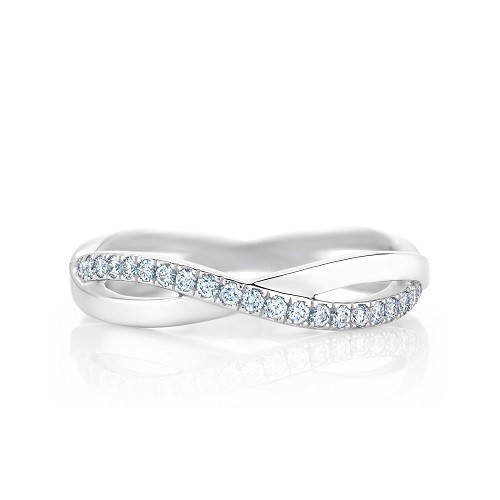 """Ring """"Infinity"""", made from 14K gold and 19 diamonds 0.16 ct"""