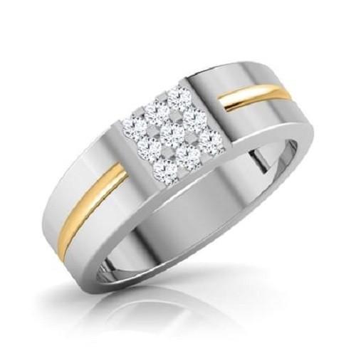 Мъжки пръстен 14К злато с 9 диаманта 0.054 ct