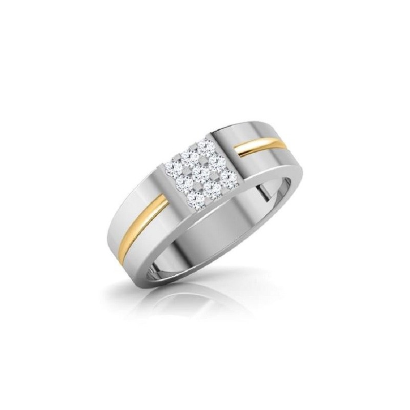 Ring for him, made from 14K gold and 9 diamonds 0.054 ct