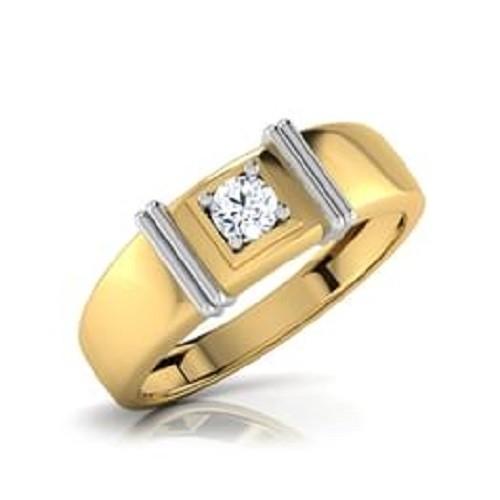 Мъжки пръстен 14К злато с 1 диамант 0.11 ct