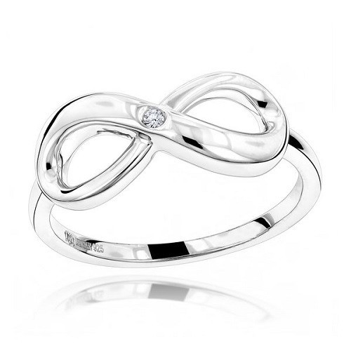 """Ring for him """"Infinity"""", made from 14K gold and 1 diamond 0.035 ct"""