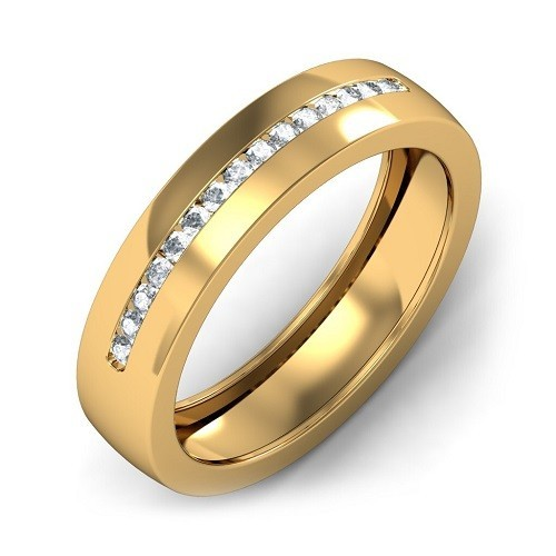 Ring for him, made from 14K gold and 15 diamonds 0.23 ct