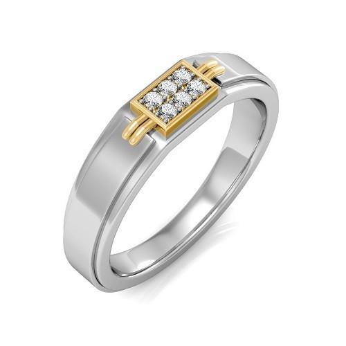 Мъжки пръстен 14К злато с 6 диаманта 0.09 ct
