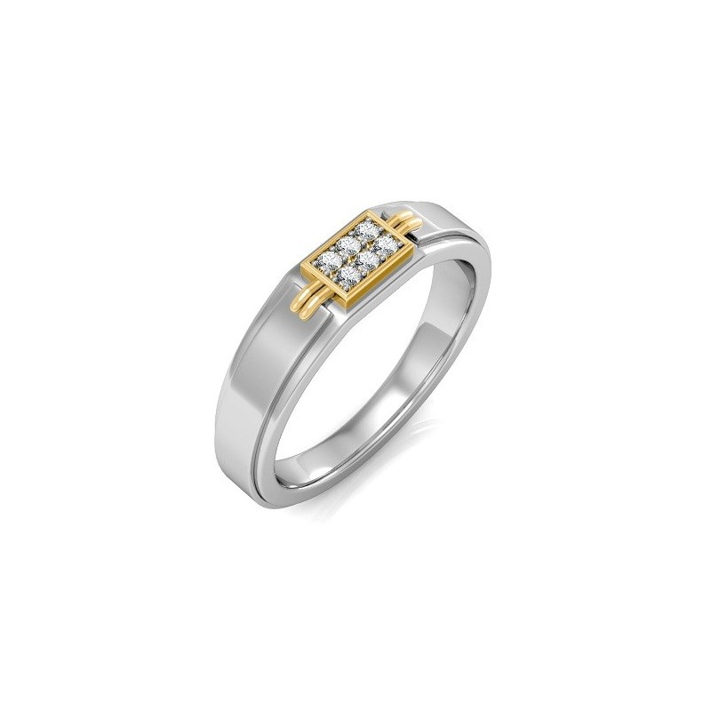 Ring for him, made from 14K gold and 6 diamonds 0.09 ct