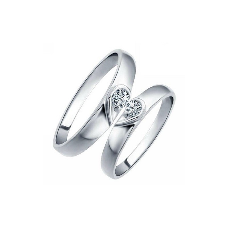 Set of two rings, made from 14K gold and 2 diamonds 0.12 ct