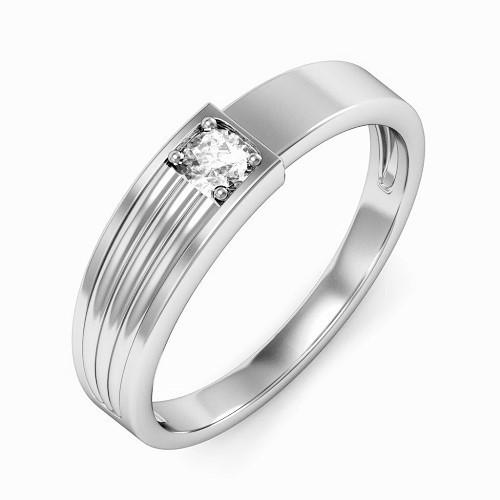 Мъжки пръстен 14К злато с 1 диамант 0.08 ct