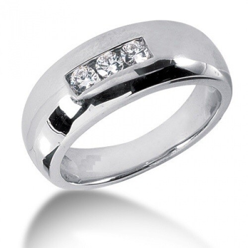 Ring for him, made from 14K gold and 3 diamonds 0.11 ct