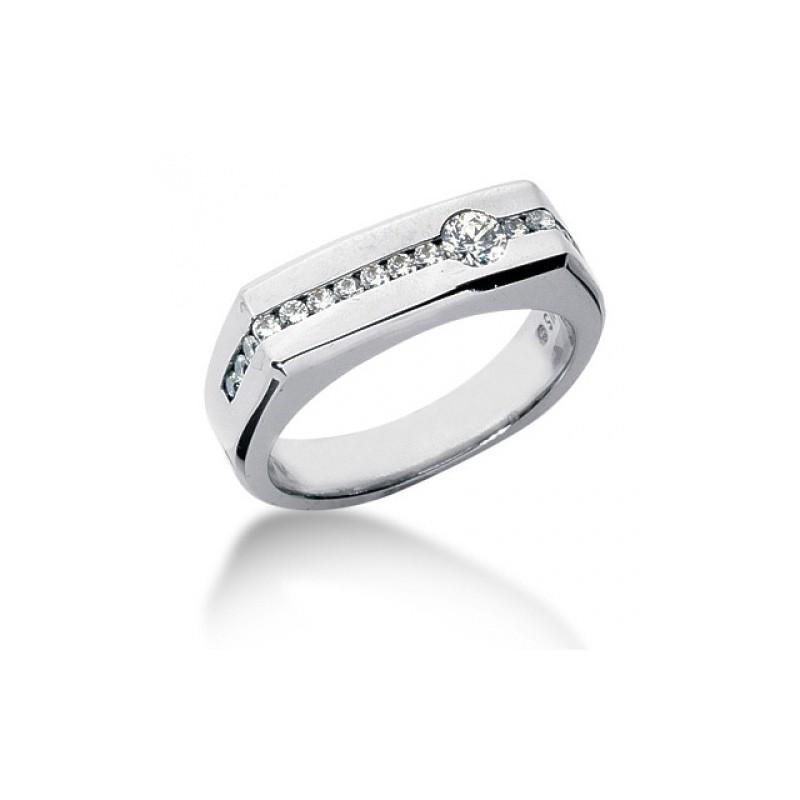 Мъжки пръстен 14К злато и 16 диаманта 0.22 ct