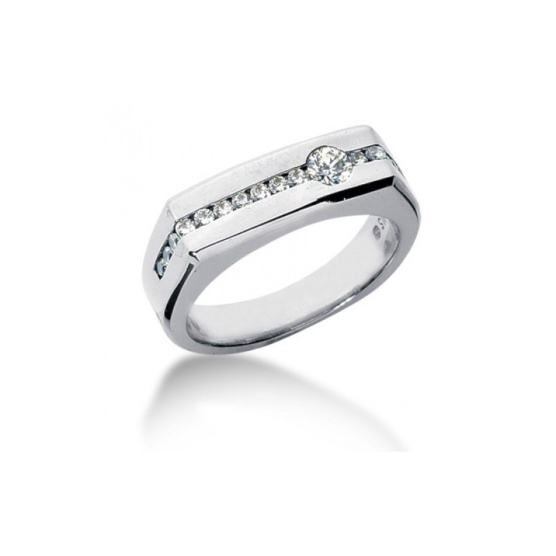 Ring for him, made from 14K gold and 16 diamonds 0.22 ct