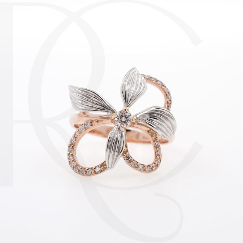 Пръстен 14К розово злато и диаманти с тегло 0.21ct.