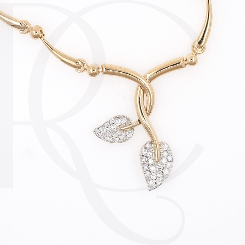 Necklace 14K gold, handmade, 40 diamonds with a total weight of 0.62ct.