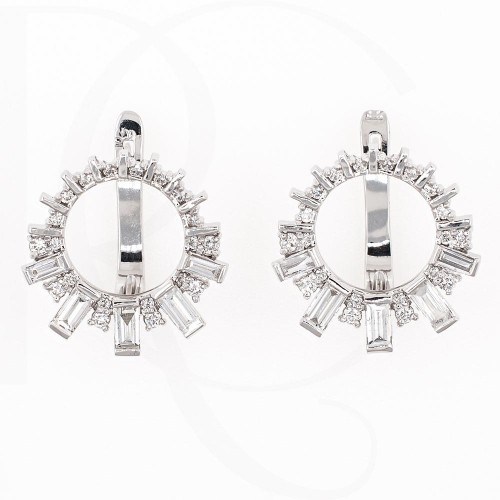Earrings, 14K white gold with diamonds 1,02ct