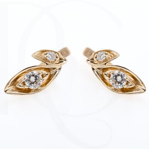 Обеци, 14K бяло злато с 4 диаманта с тегло 0,31ct