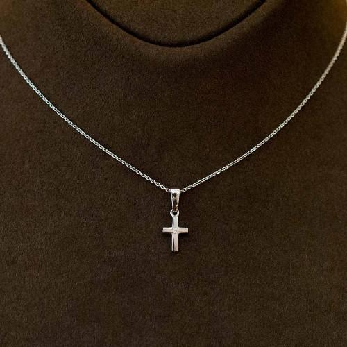 """Колие """"Кръст"""", 14K злато с диамант 0,03ct"""