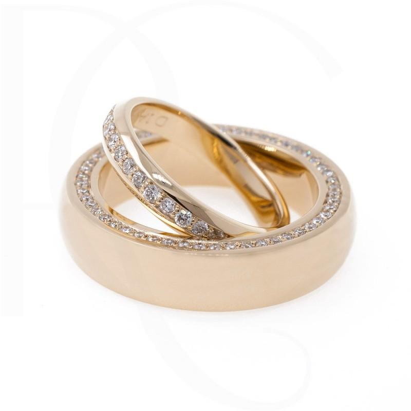 Брачни халки 14К жълто злато с 1,06ct диаманти