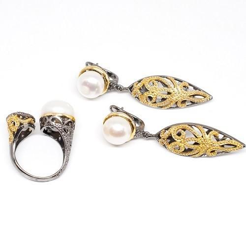 """Сребърен комплект обеци и пръстен """"Хайди"""""""