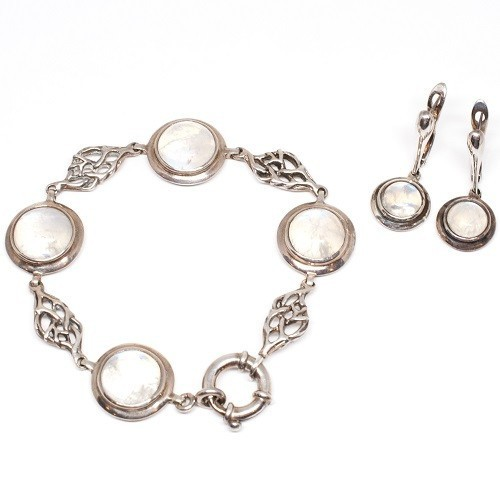 "Silver set of bracelet and earrings ""Sakura"""