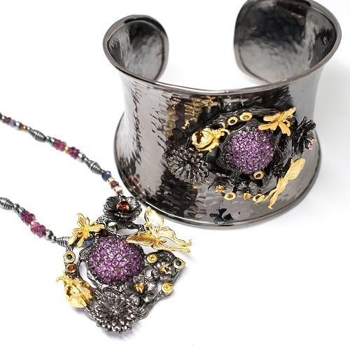 """Silver set bracelet and necklace """"Butterfly"""""""