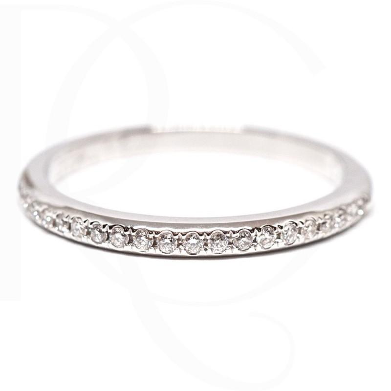 Диамантена брачна халка 14К бяло злато с диаманти 0.11ct