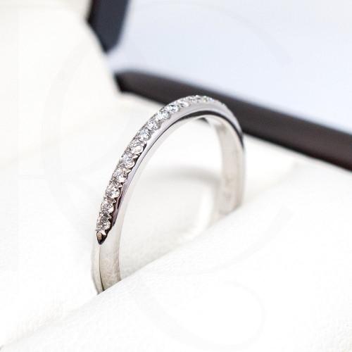 Пръстен 14К Бяло Злато с диаманти 0.11ct