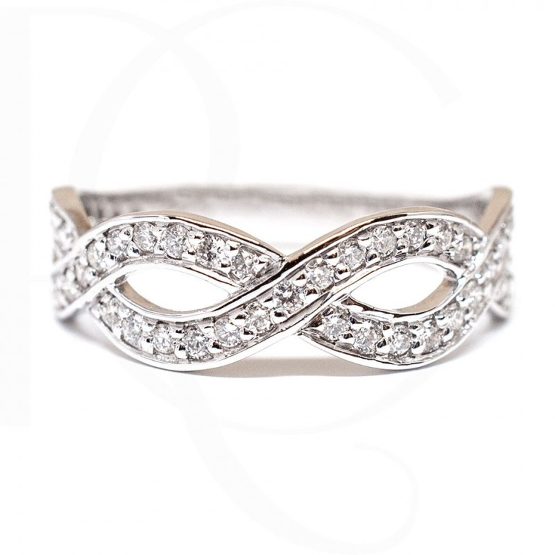 Ring Infinity 14K White Gold & diamonds 0,42ct