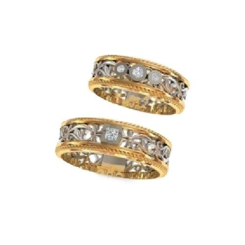 Set of wedding rings with diamonds model R149