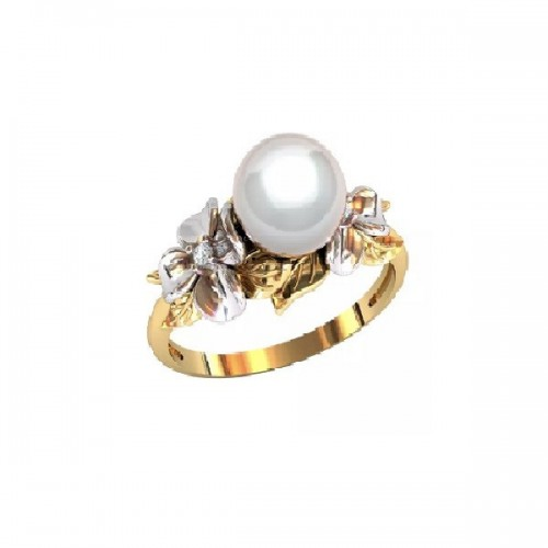 Ring 14K yellow and white gold with 2 diamonds and 1 pearl