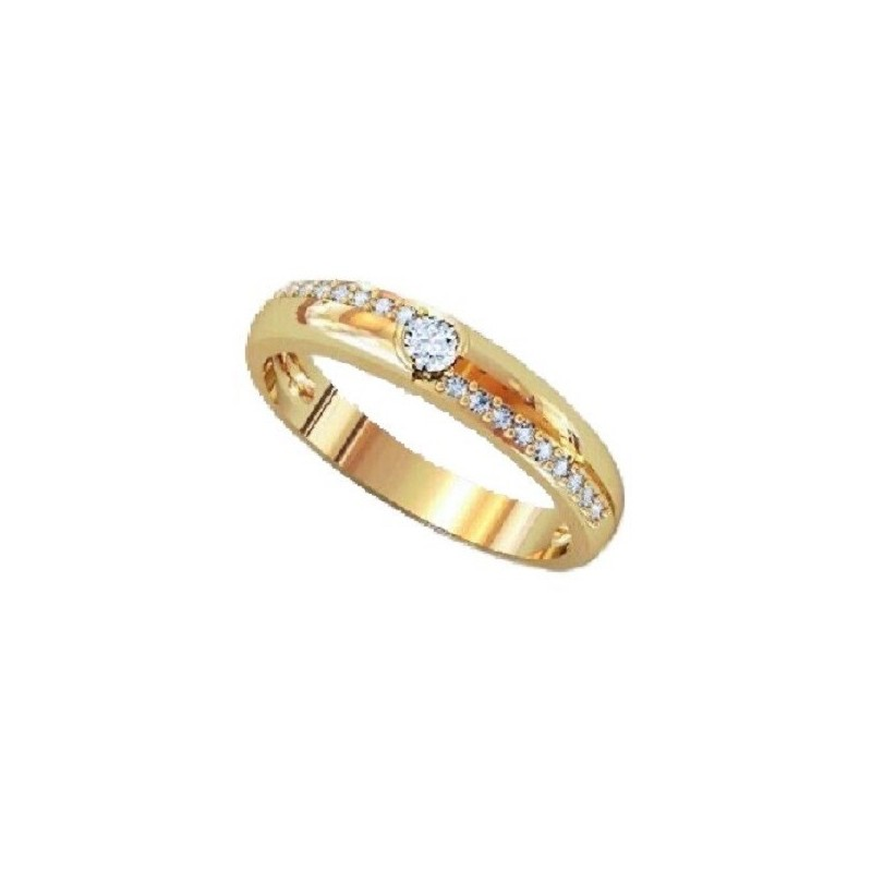 Ring 14K gold with 19 diamonds with total weight of 0,26ct