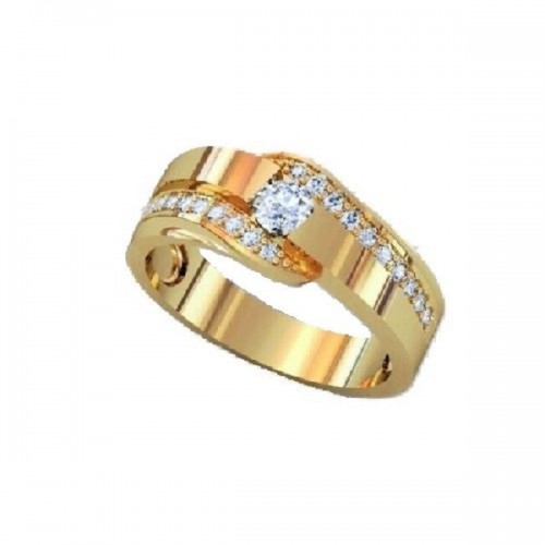 Ring 14K yellow gold with 21 diamonds with total weight of 0,54 ct
