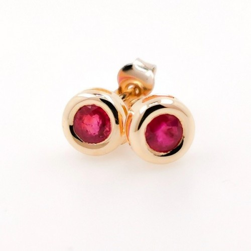 Earrings, 14K gold with 2 rubies 0,66 ct