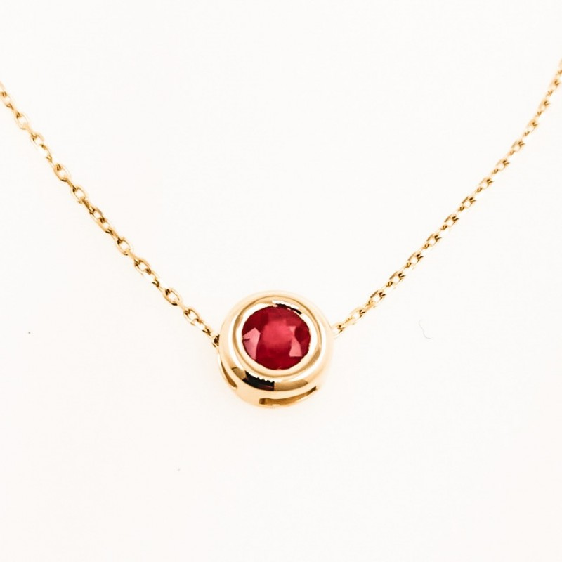 Necklace, 14K gold, natural ruby