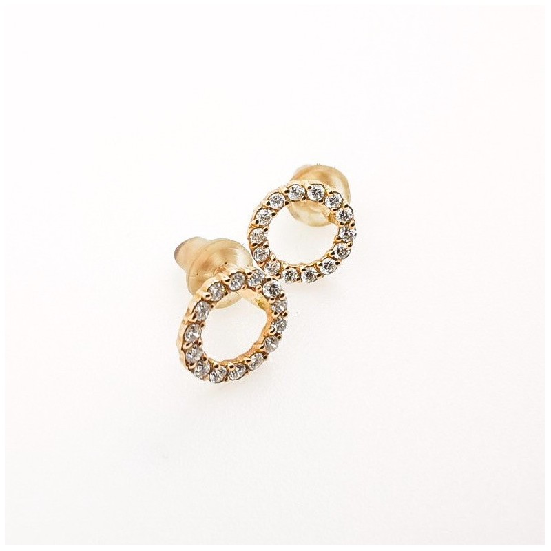 Earrings, 14K YG with 28 natural diamonds