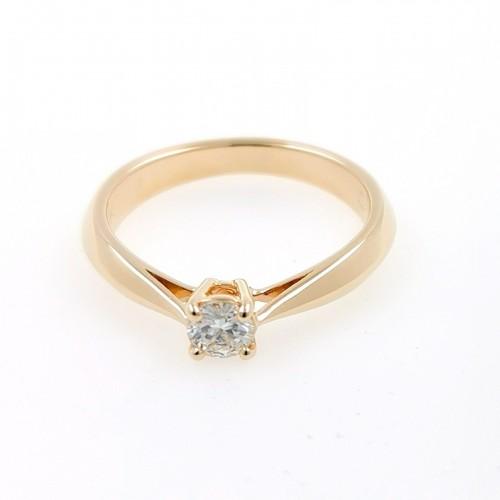 Годежен пръстен 18К злато, 1 диамант с тегло 0.27ct