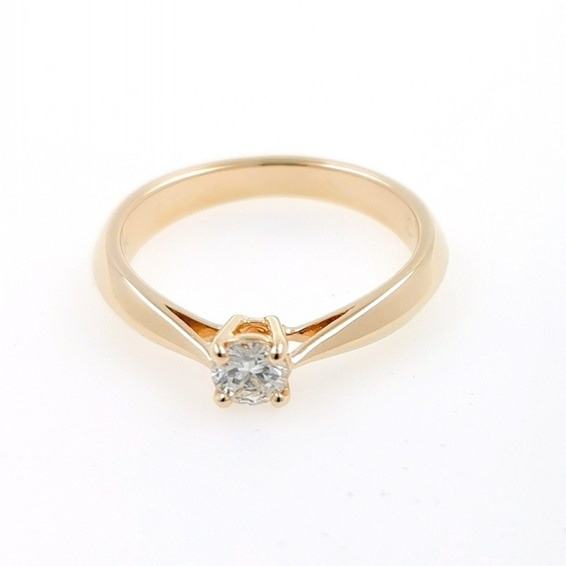 Ring of 14К gold, 1 diamond with a weight of 0.23ct
