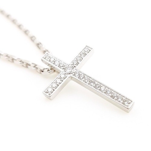 Necklace Cross, 18K gold with diamonds 1,10ct