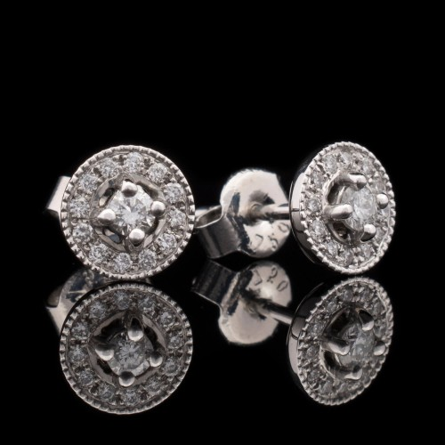 Earrings 18K white gold, 26 diamonds with a weight of 0.25ct.