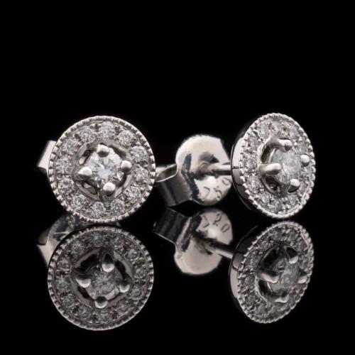 Обеци 18K бяло злато, 26 диаманта с тегло 0.25ct.
